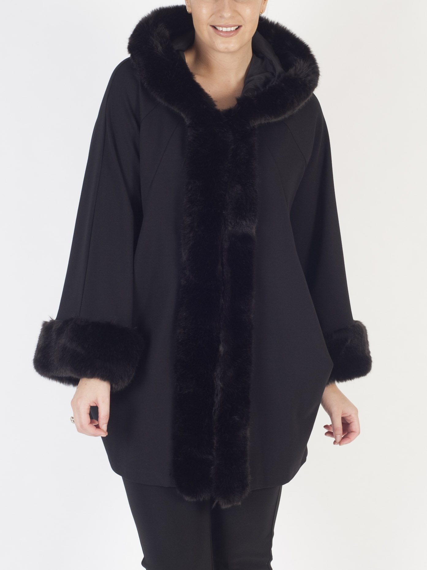 Joseph Ribkoff Black Faux Fur Trimmed Coat