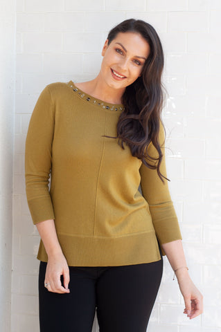 Gerry Weber Lime Jumper with Embellished Neckline