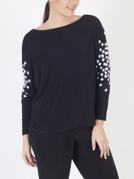 Joseph Ribkoff Black/White Top with Appliqué Flowers