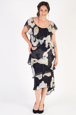 Black/Apple Multi Layered Gypsy Abstract Floral Chiffon Dress