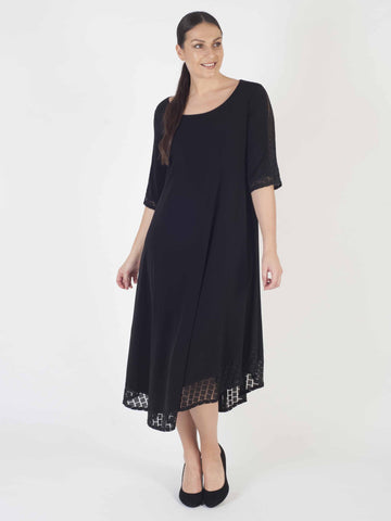 Black Asymmetric Hem Squares Mesh Trim Short Sleeve Jersey Dress