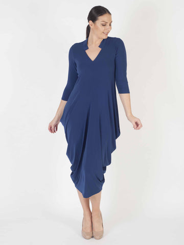 Riviera blue notch neck Jersey Drape Dress
