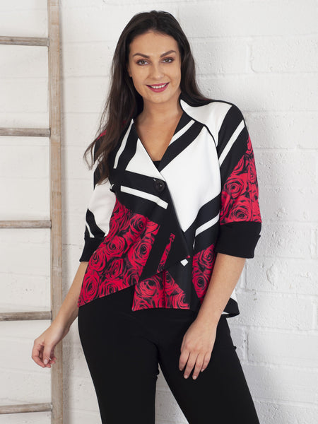 Joseph Ribkoff Blk/Cream/Red Rose And Geometric Print Jacket