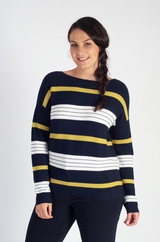 Gerry Weber Navy/Lime Stripe Long Sleeve Jumper