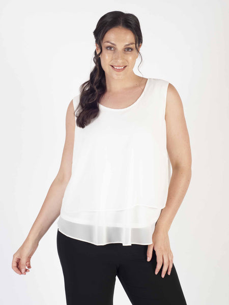 Ivory Wrap Back Double Layered Chiffon Camisole