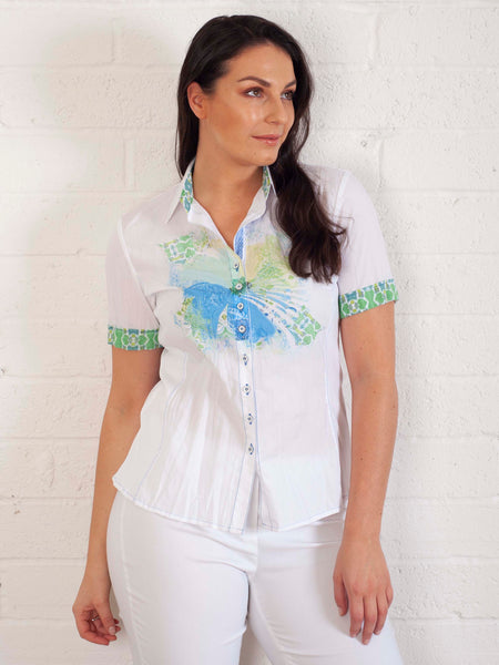 Just White White Crinkle Cotton Shirt With Applique Front