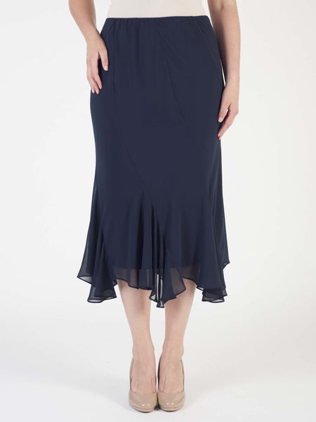 Dark Navy Cut Panel Flared Hem Chiffon Skirt