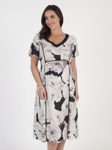 Blush Rose Print Dress with Black piping