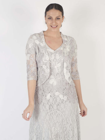 Ice/Ivory Ombre Cornelli Emb Lace Jacket