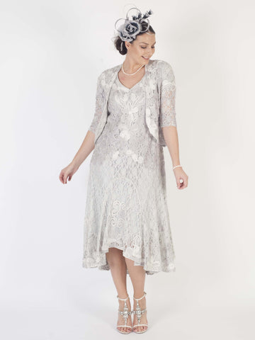 Ice/ivory Ombre Cornelli Emb Lace Dress