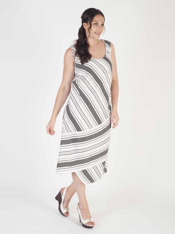 White/Blck Diagonal Stripe Linen Mix Dress