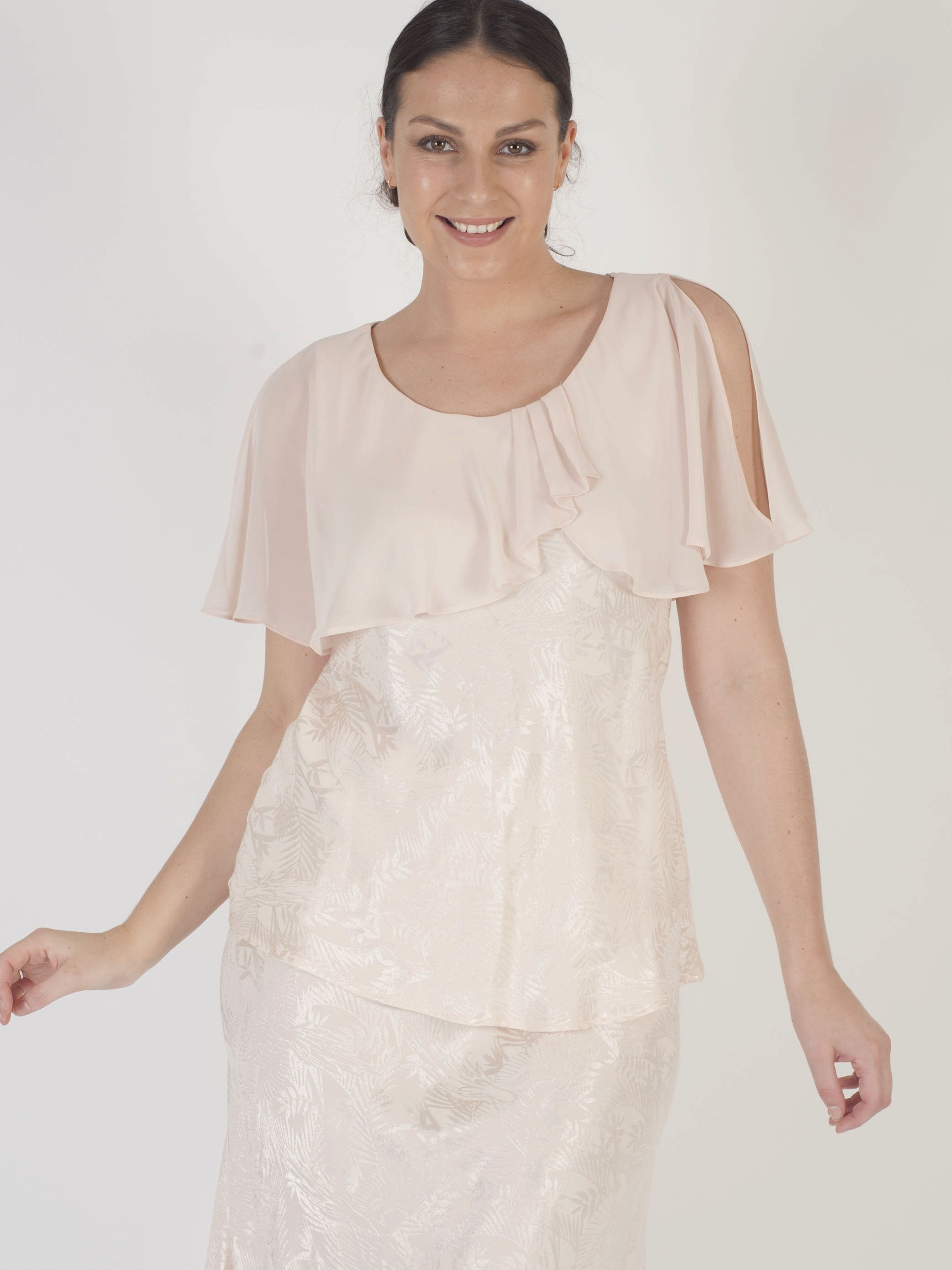 Blush Chiffon Cape Trim Jacquard Top
