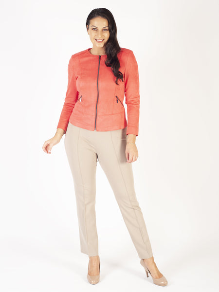 Lebek Taupe Stretch Pull On Trousers