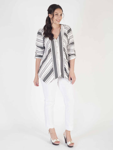 White/Grey Chevron Stripe Linen Mix Jacket With Tab Detail