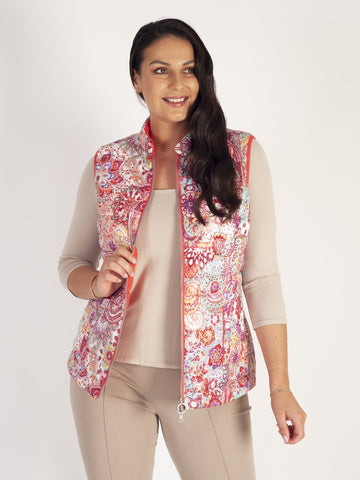 Lebek Coral Paisley Floral Quilted Reversible Gilet