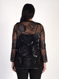 Black Rose Cutout Applique Leather On Mesh Coat