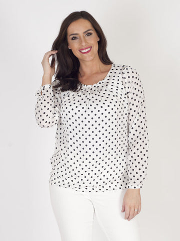 Taifun Polka Dot White Satin Blouse