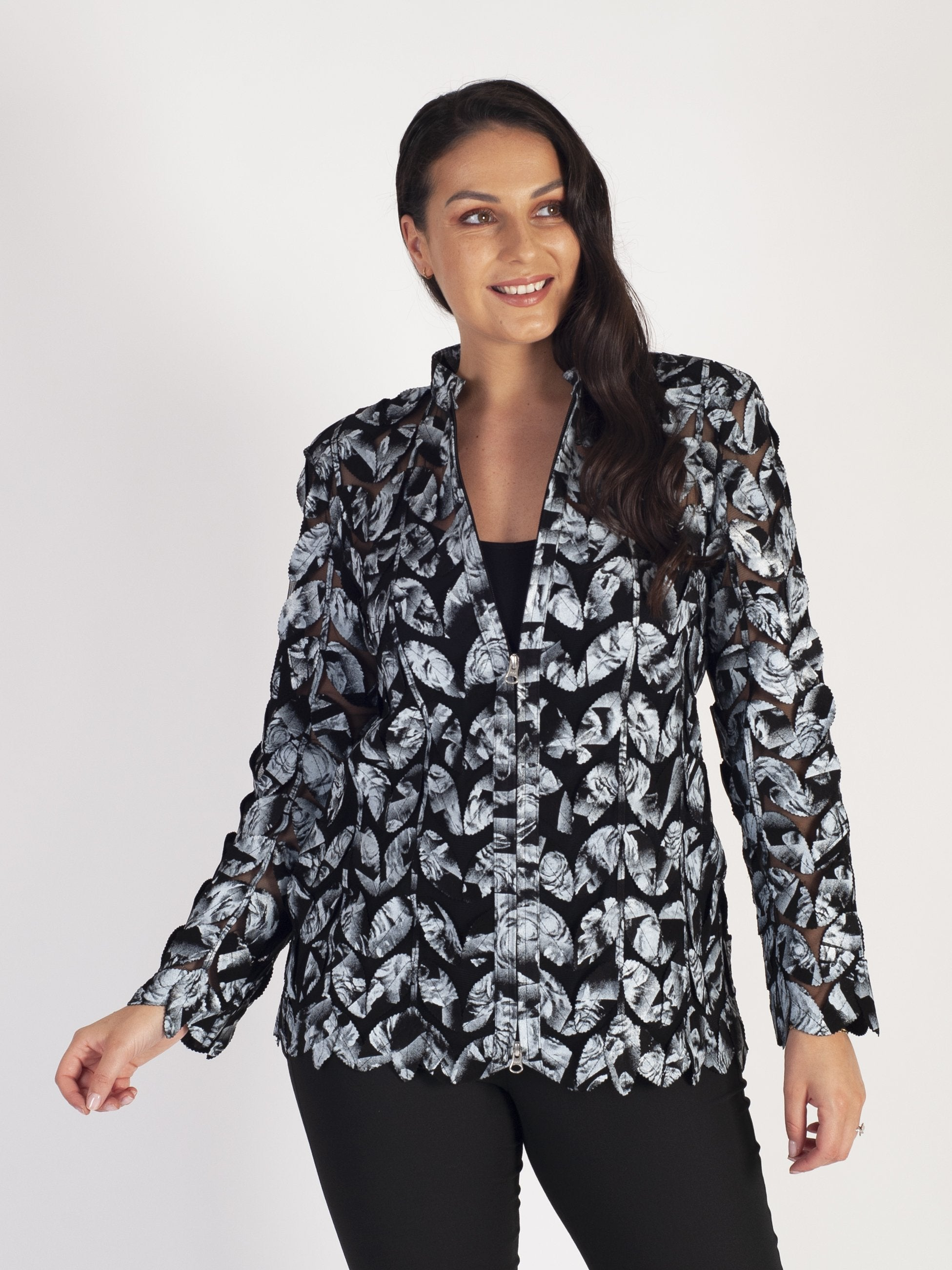 Blk/White Rose & Leaf Print Applique Leather On Mesh Coat