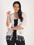 White Silk Devoree Jacket With Beading & Tassels