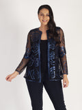 Pacific Metallic Rose Cutout Applique Leather On Mesh Coat