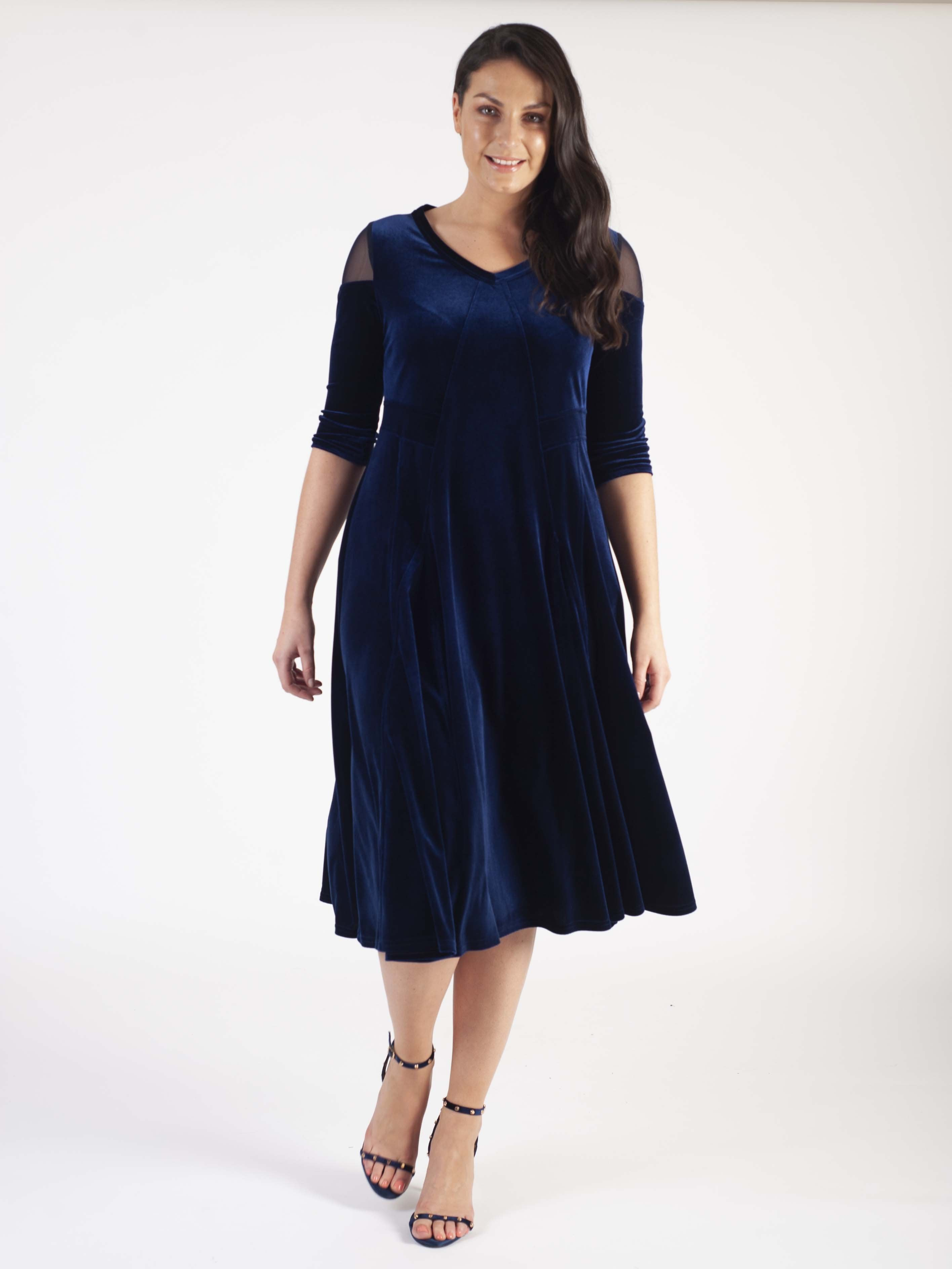 Navy Mesh Shoulder Flared Velvet Dress