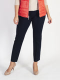 Lebek Navy Stretch Pull On Trousers