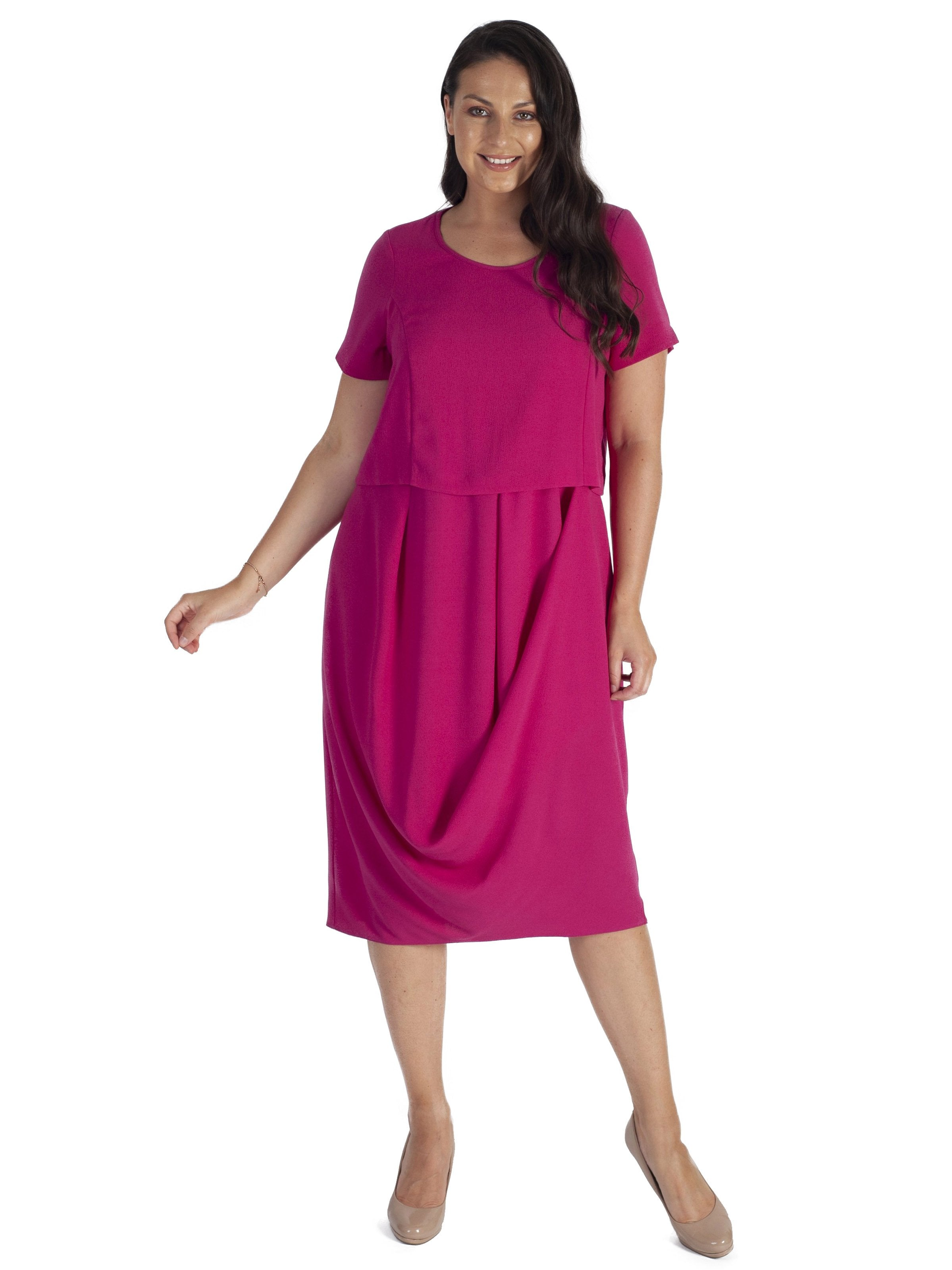 Lipstick Layered Drape Crepe Dress
