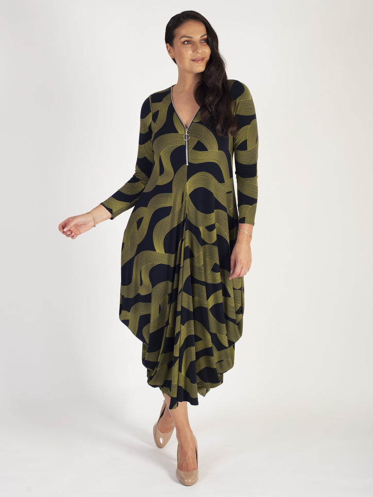 Navy Lime Swirl Stripe Zip Detail Jersey Drape Dress New Delivery By P Chesca