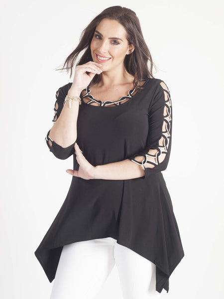 Joseph Ribkoff Criss Cross Black Jersey Top