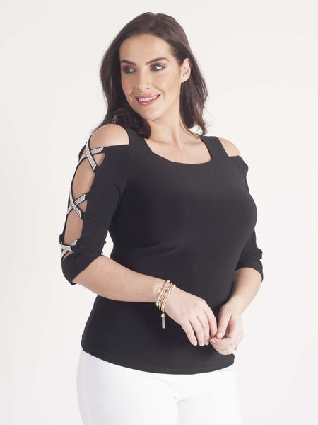 Joseph Ribkoff Diamanté Cut Out Top