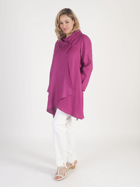 Raspberry Embroidered Collar Linen Coat
