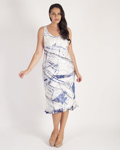 Ivory/Cobalt Pheasant Print Bias Cut Devoree Dress