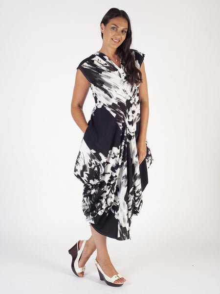 Black/Ivory Abstract Block Floral Stretch Drape Dress