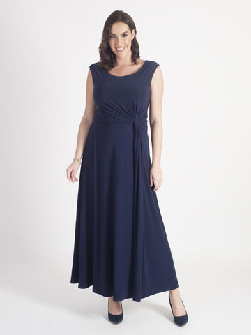 Navy Jersey Maxi  Dress with assymetrical detail