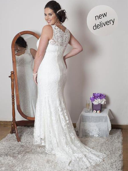 Ivory Scallop Lace Dress With Train with a mirror