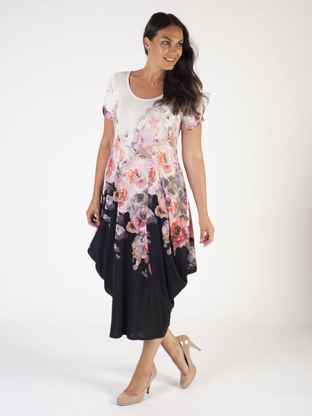Ivory/Blk Border Bouquet Print Jersey Drape Dress