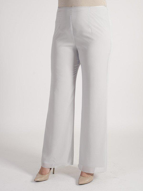 Silver Grey Satin Trim Chiffon Trouser