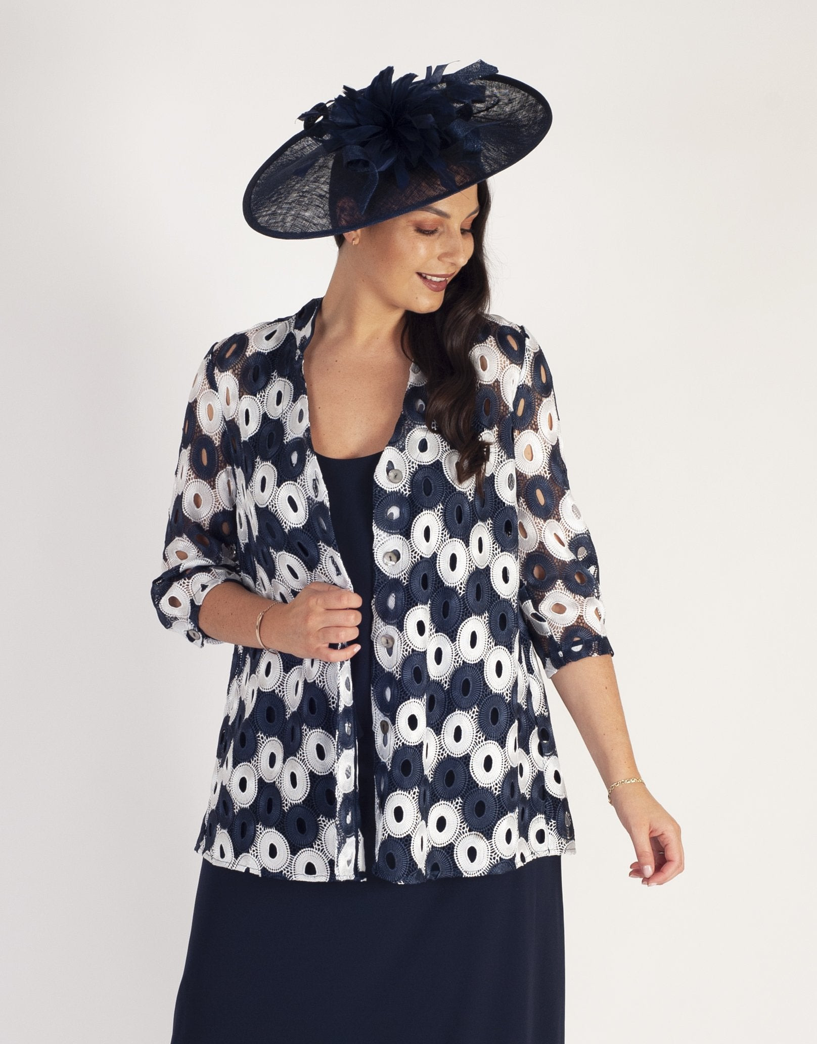 """Ivory/Navy Contrast """"Circles"""" Guipure  Lace Jacket  with stand collar"""