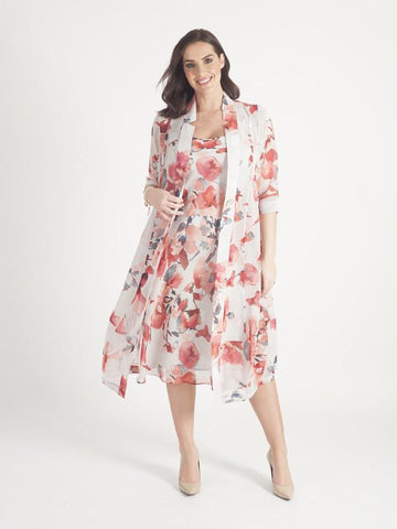 Silver Grey/coral Abstract Floral Chiffon Coat