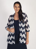 "Ivory/Navy Contrast ""Circles"" Guipure  Lace Jacket  with stand collar"