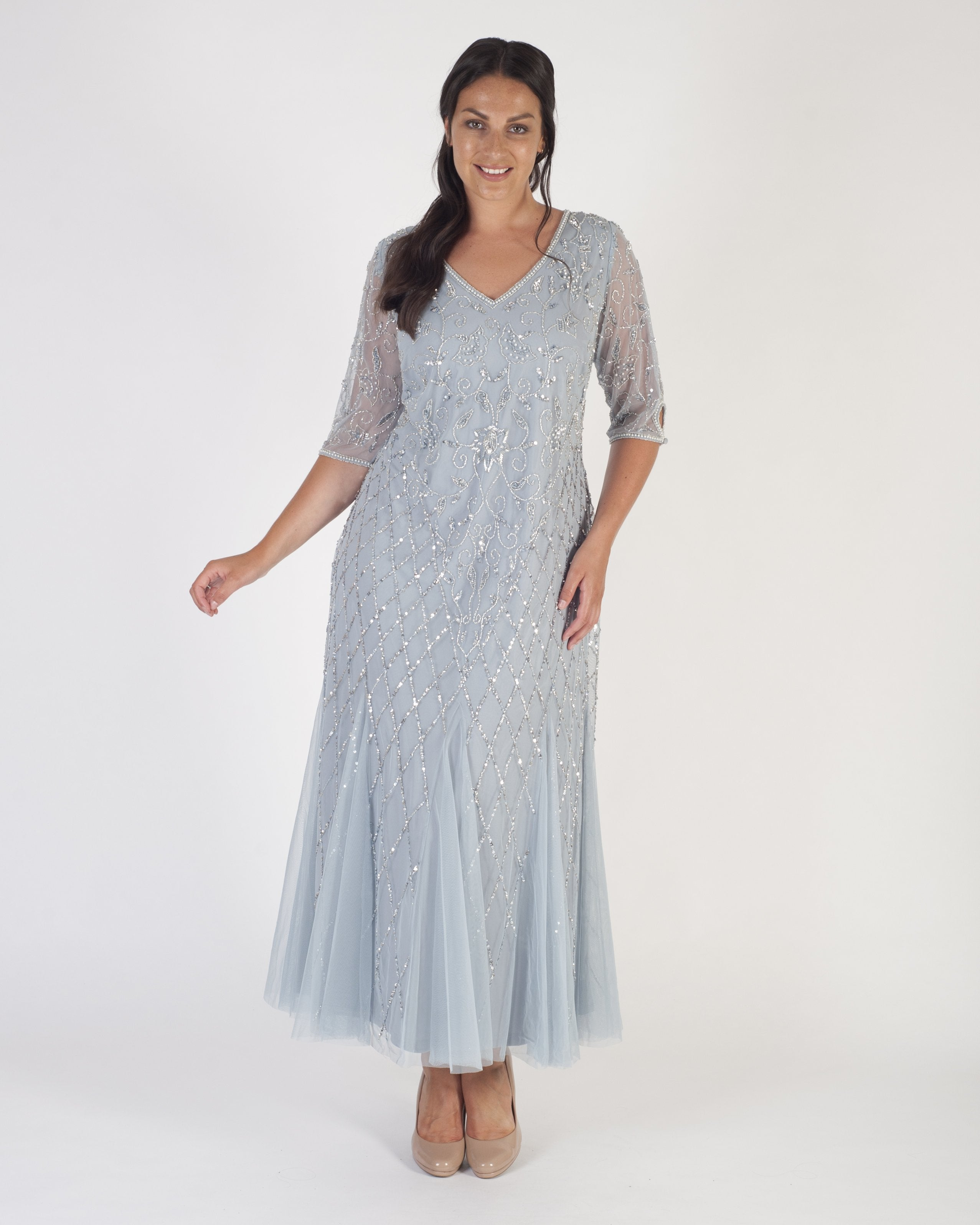 Silver Sequin & Pearl Beaded 3/4 Sleeve V-Neck Mesh Dress