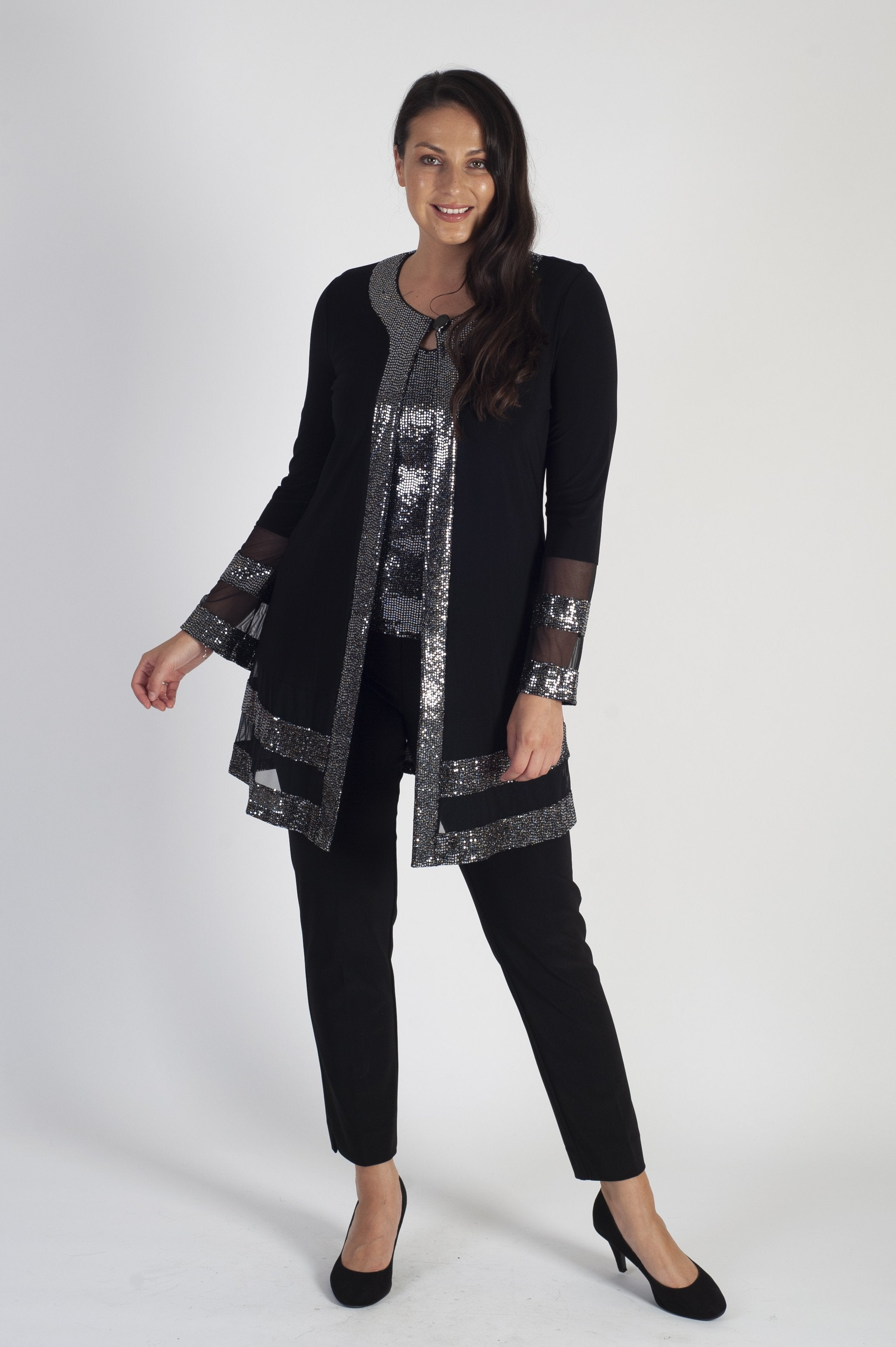 Joseph Ribkoff Shimmering Silver sequin embellished long line cover-up