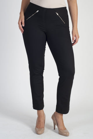 Black Zip Detail Stretch Trouser