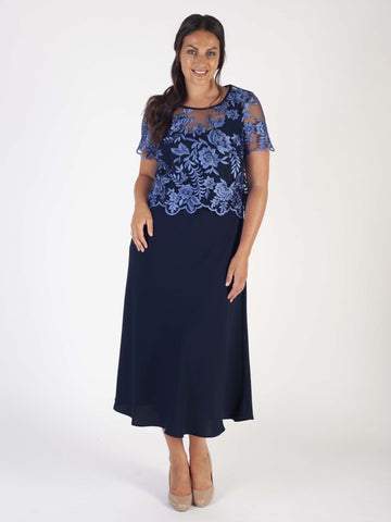 Iris/Navy Scallop Emb Mesh Bodice & Crepe Dress