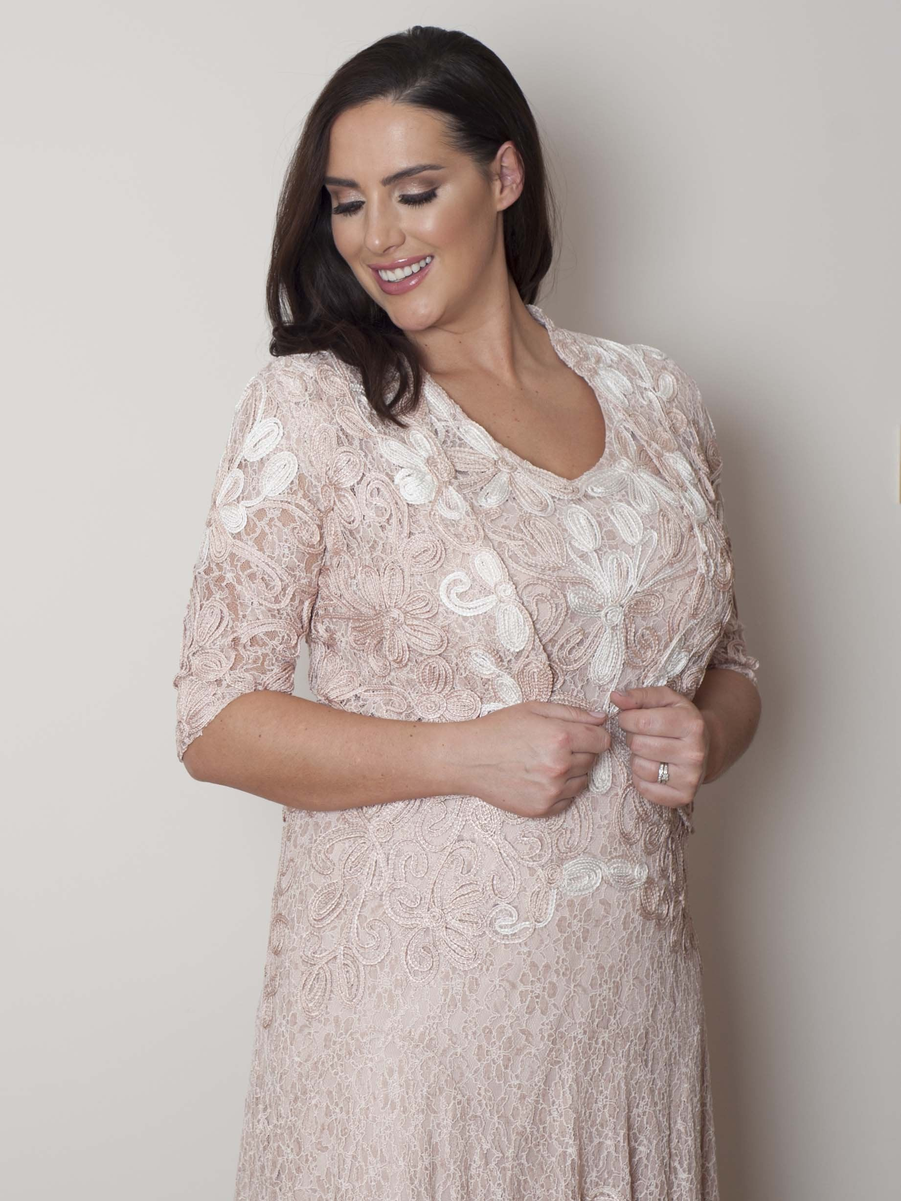 Blush/Ivory Ombre Cornelli Embroidered Lace Jacket