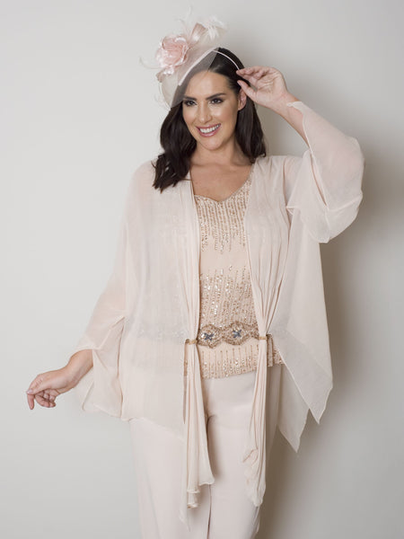 Blush Beaded Tab Shrug (with a hat)