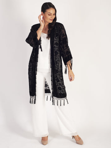 Black Silk Devoree Kimono With Beading & Tassels