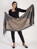 Grey Cashmere Blend Embroidered Scarf