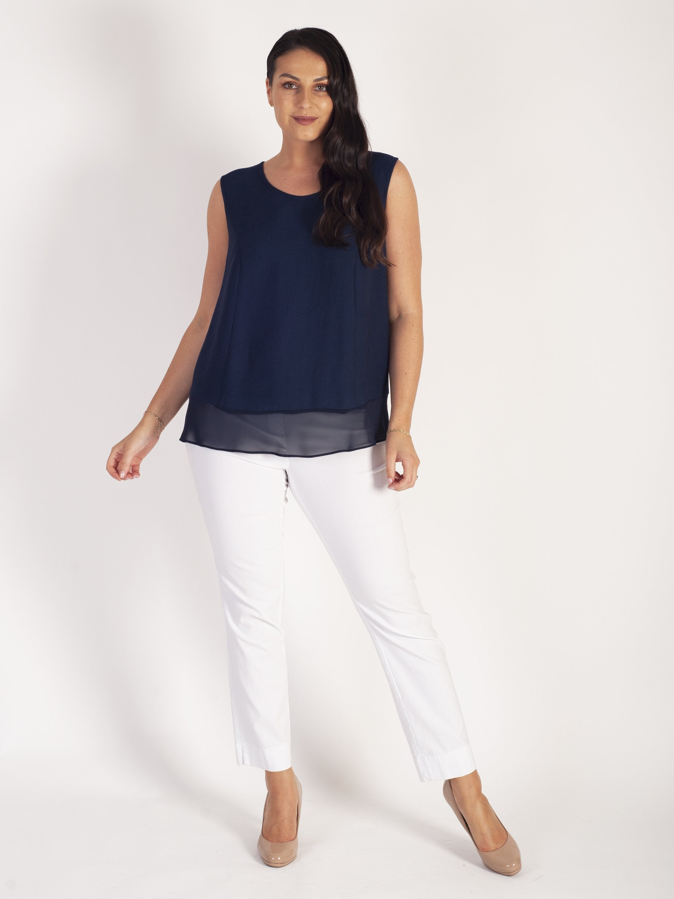 Navy Fine Crinkle Camisole