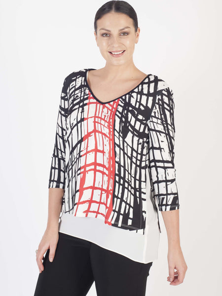 FRANK LYMAN Black/Red/White Geometric Print 2 Layer Top